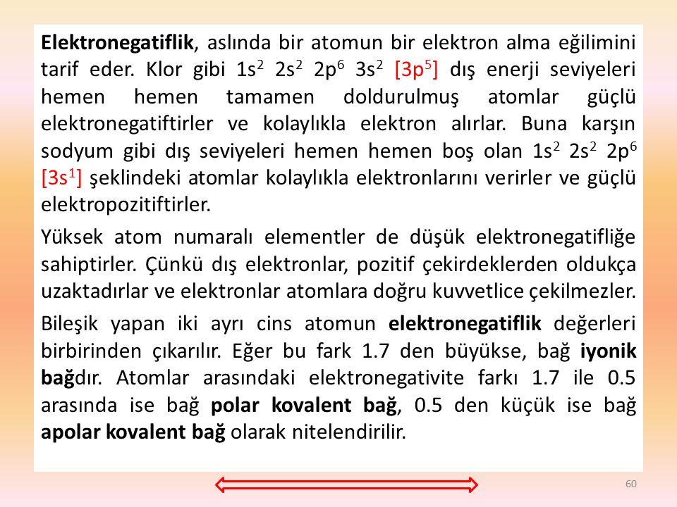 Elektronegatiflik, aslında bir atomun bir elektron alma eğilimini tarif eder. Klor gibi 1s2 2s2 2p6 3s2 [3p5] dış enerji seviyeleri hemen hemen tamamen doldurulmuş atomlar güçlü elektronegatiftirler ve kolaylıkla elektron alırlar. Buna karşın sodyum gibi dış seviyeleri hemen hemen boş olan 1s2 2s2 2p6 [3s1] şeklindeki atomlar kolaylıkla elektronlarını verirler ve güçlü elektropozitiftirler.